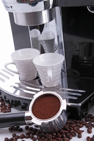 coffee marker with cup and coffee bean Stock Photo - 17235926