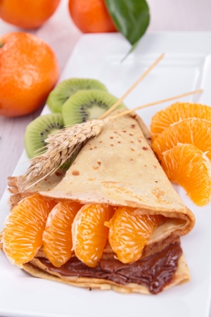 clementine: crepe with chocolate and clementine Stock Photo