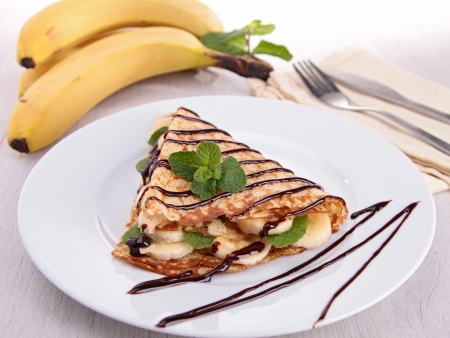 banana crepe with chocolate photo