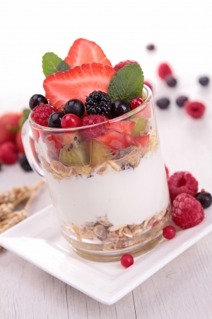 yogurt with muesli and berries photo