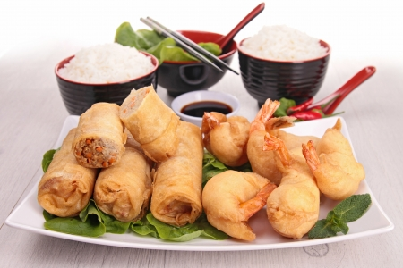 chinese food, spring roll and rice photo