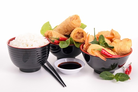 fritter: spring roll, shrimp fritter and soy sauce