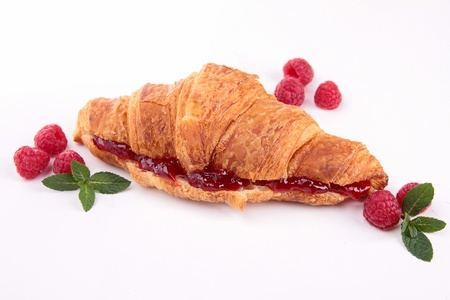croissant with raspberry photo