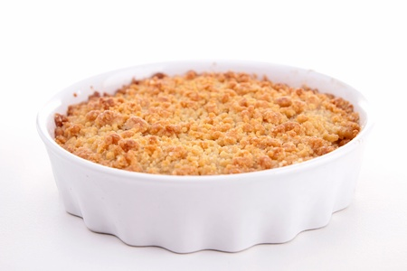 crumble: apple crumble on white