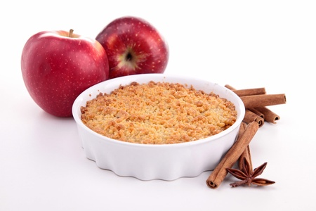 apple crumble: apple crumble on white