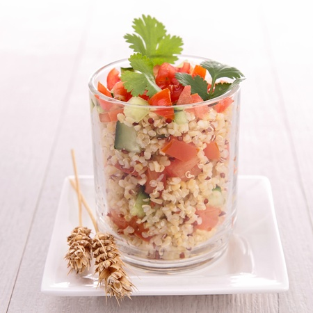 quinoa salad with cucumber and tomato photo