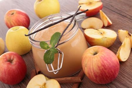 pot with applesauce  Stock Photo
