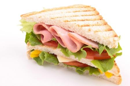 sandwich white background: toast sandwich Stock Photo