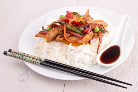 rice with fried vegetables and chicken Stock Photo - 18277565