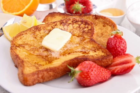 toast bread: french toast with butter and honey