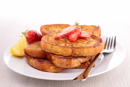 french sugar toast with strawberry photo