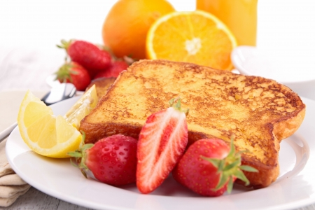 french toast with fruits Stock Photo