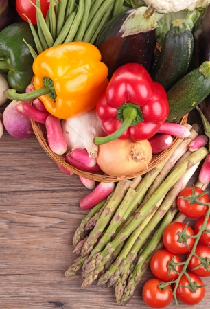 healthy organic vegetables on a wood background photo