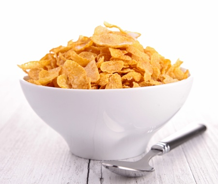 cereal bowl: bowl of corn flakes Stock Photo