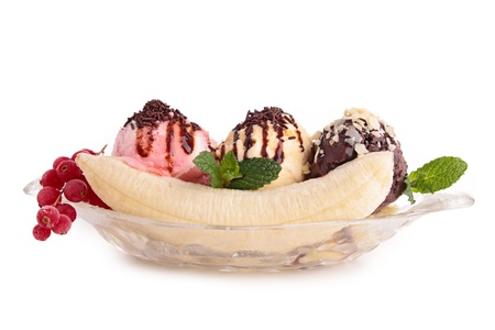 the split: isolated banana split Stock Photo