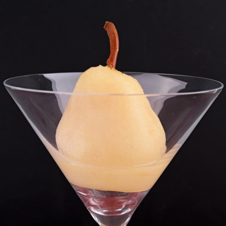 poached: pear poached in syrup