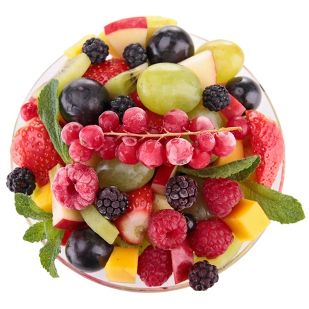 fresh fruits salad in bowl photo