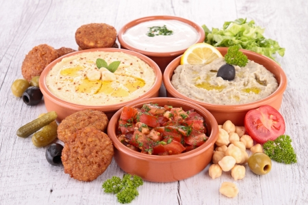lebanese food: assorted of oriental food, mezze