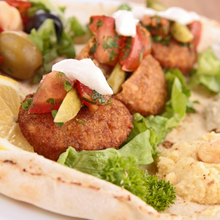 pita bread with falafel and vegetables photo