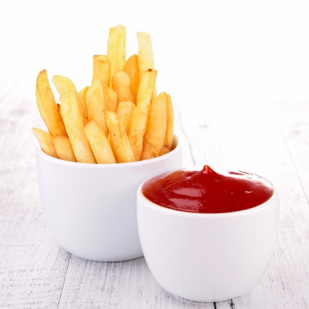 potato chip: french fries and ketchup