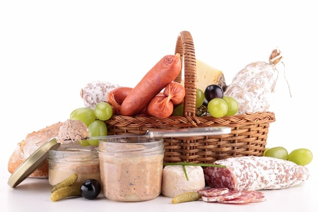 wicker basket with sausage,ham, pate Stock Photo - 19145266