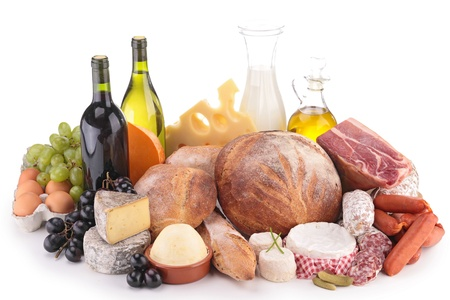 composition with wine,cheese,bread,meat photo