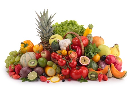 vegetable basket: fruits and vegetables Stock Photo