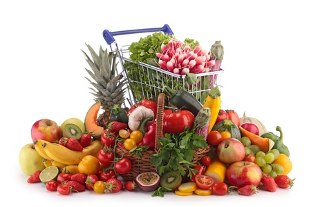 shopping carts: fruits and vegetables Stock Photo