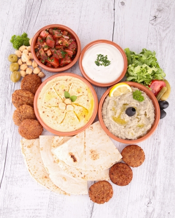 lebanese: falafel with dips and bread