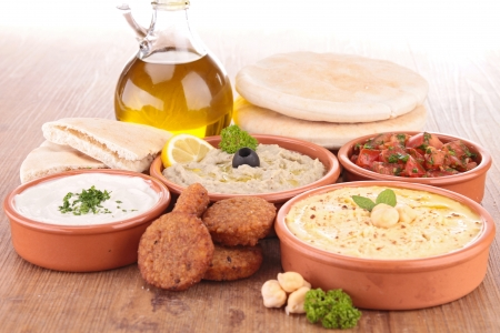 lebanese food: falafel with dips and bread