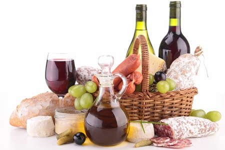 composition with wine,cheese and sausage photo
