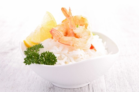 bowl of rice with shrimp photo