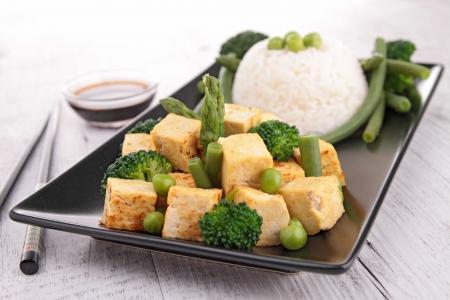 tofu: cooked tofu and vegetables