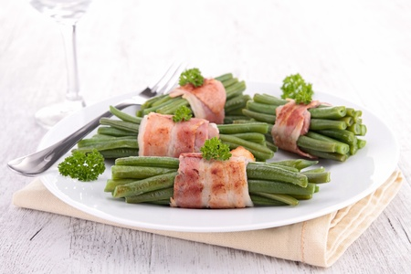 green bean wrapped in bacon Stock Photo - 19492977