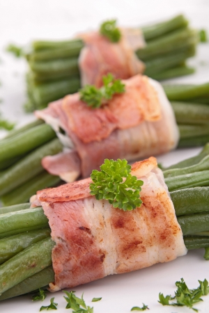 green bean wrapped in bacon Stock Photo - 19492989