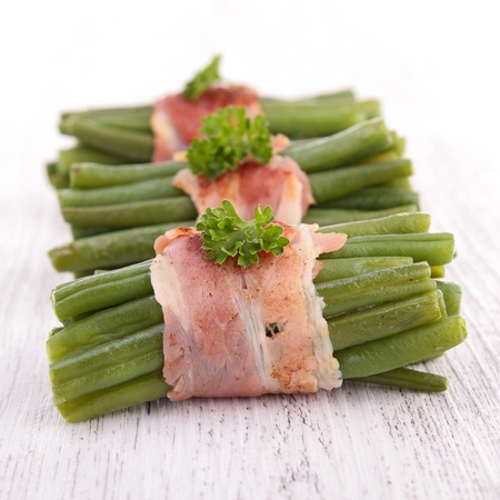 green bean wrapped in bacon photo