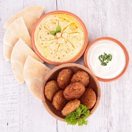 arabian food: falafel, hummus and bread Stock Photo