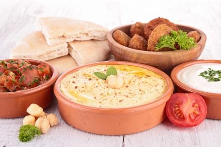 falafel: falafel, hummus and bread Stock Photo