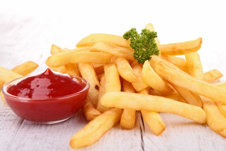 fries: french fries and ketchup