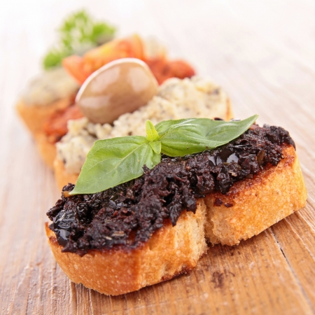 bruschetta: bread and tapenade Stock Photo