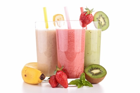 fruit smoothie: assortment of smoothies