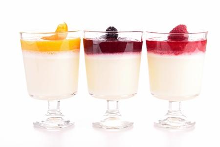 panna: assortment of panna cotta yogurts