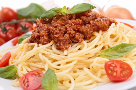 spaghetti sauce: spaghetti with bolognese sauce Stock Photo