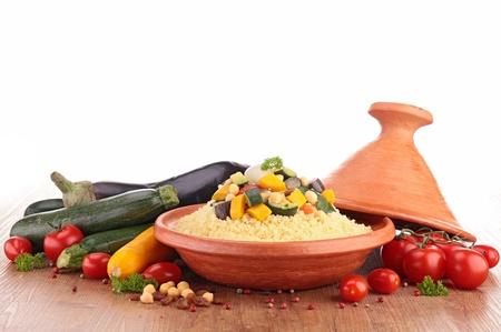 couscous: tajine with vegetarian couscous Stock Photo