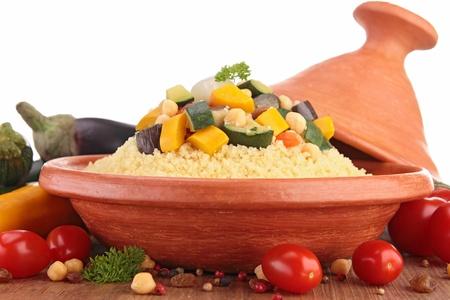 moroccan cuisine: tajine with vegetarian couscous Stock Photo