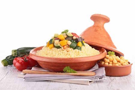 tajine with vegetarian couscous Stock Photo