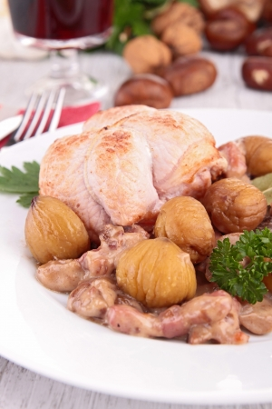 cooked meat: cooked meat with chestnut and mushrooms Stock Photo