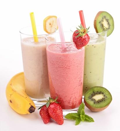 milkshake: three glasses of smoothies