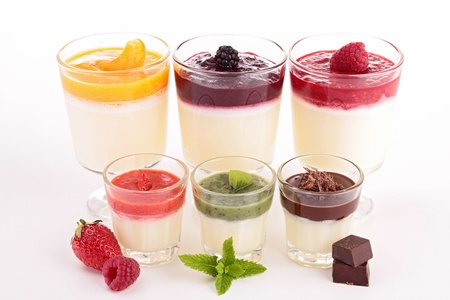 pannacotta: assortment of pannacotta isolated