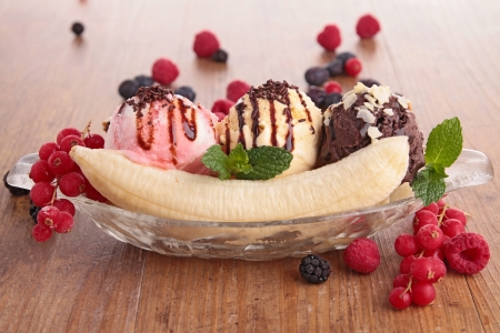 the split: banana split Stock Photo